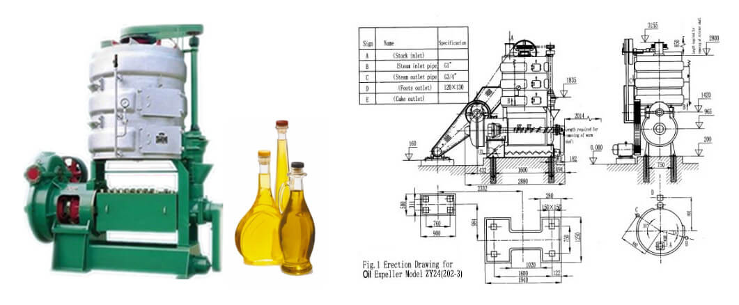 large screw sunflower oil machine drawing instruction
