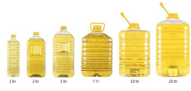 packed cooking oil in bottles