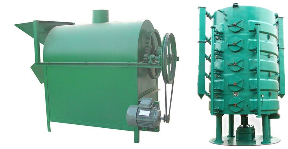 rotary oilseeds roasting machine and vertical cooking machine